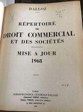 Répertoire De Droit Commercial~Mise A Jour~1968~Paris