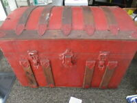 Jenny Lind Steamer Trunk Dome Top  Antique Vintage Trunk  Painted Antique Red