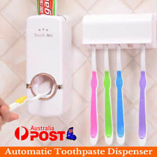 Automatic Toothpaste Dispenser +5 Toothbrush Holder Set Wall Mount Stand Sale LD