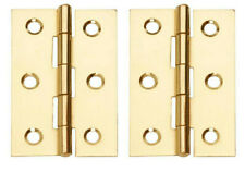 """2 x Steel Electro Brass Butt Hinges 2 1/2"""" (64mm Approx) With Screws"""
