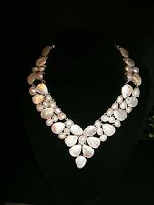 necklace very large white petal pearl  925 Silver Cleopatra cluster adjustable