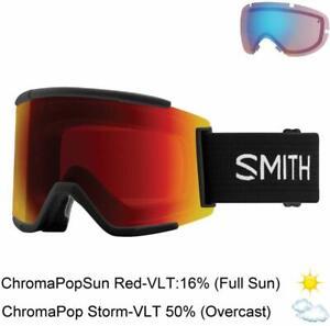 Smith Optics Adult Squad XL Snow Goggles,Black Frame/ChromaPop Sun Red Mirror