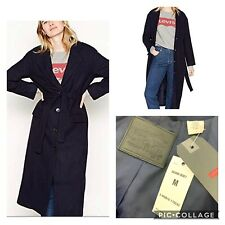 LEVIS BNWT Navy Wool Blend Frida Trench Coat Long Belted Medium