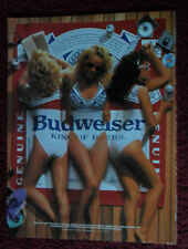 1988 Print Ad Bud Budweiser Beer ~ Trio of Sexy Swimsuit Girls on Wooden Deck