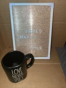 "NEW! Rae Dunn ""LOVE NEVER FAILS"" LL Artisan Collection Black Mug By Magenta 2021"