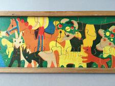 Antonio Vitali Jigsaw Puzzle wooden Toy - Cattle Drive - Vintage Swiss Design