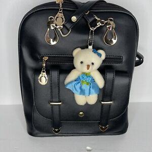 Classic Fashion Black Backpacks with Blue Teddy Bear Charm