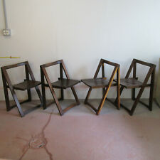 Set Of Four Modernist Style Walnut Folding Chairs Designed By Aldo Jacober