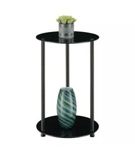 Convenience Concepts Designs2Go Classic Two-Tier Round End Table in Black Glass