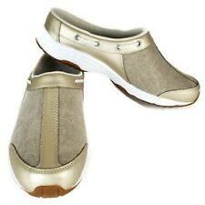 Easy Spirit Travelsport 29 Clogs Mules Womens Size 11 taupe gold leather canvas