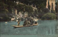 Raft Ferry boat Tourists Gorges du Tarn Chateau De La Caze c1920 Postcard