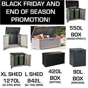 Outdoor Garden Storage Box Plastic Cushion Shed Box 90/270/420/550/842/1270L