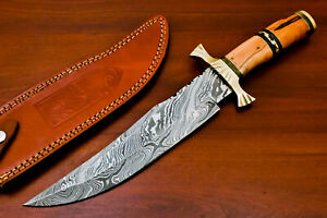 Rody Stan HAND MADE DAMASCUS BLADE BOWIE HUNTING KNIFE - BRASS GUARD - AS-5848