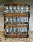 18 Vintage Spice Clear Glass Apothecary Jar/Bottles & Stoppers & Shelf Japan