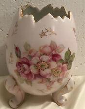 Inarco Easter Egg Shape Porcelain Vase Planter Hp Pink Flowers 3 Legs Gold Trim