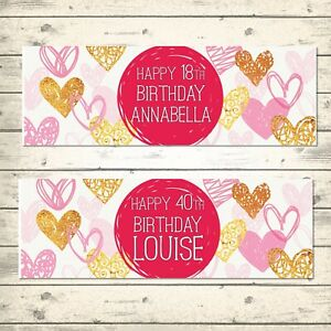 2 PERSONALISED PINK & GOLD HEART BIRTHDAY BANNERS - ANY NAME - ANY AGE