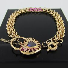 Solid 18k Yellow Gold GF Necklace Belcher Chain Ring Clasp Heart Padlock Diamond