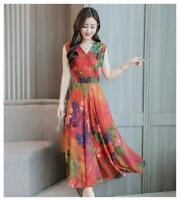 latest summer Korean fashion elegant temperament v-neck printing chiffon dress