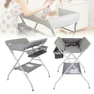 Baby Changer Unit Table Folding Nursery Changing Station Bath Mat And Storage