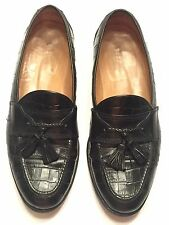 Johnston Murphy Cellini Black Leather Tassel Loafers Reptile Grain 10.5 M Italy