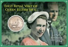 1954 First Royal Visit of Queen Elizabeth II Florin Commemorative Coin In Card