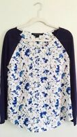 NWT French Connection Poppy Plains Blue Floral Blouse Size Medium 8 10 FCUK