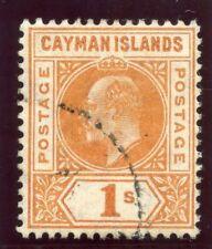 Cayman Islands 1905 KEVII 1s orange very fine used. SG 12. Sc 12.