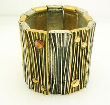 """Joan Rivers Two Tone Textured Crystal Stretch Cuff Bracelet 2"""" wide"""