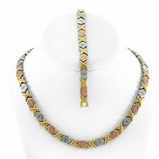 "Hugs & Kisses Necklace Bracelet Set Stampato Stainless Steel 3 Tone 18"" SB"