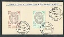 1956 ITALIA FDC ONU - FRANCOBOLLI APPLICATI SU CARTONCINO