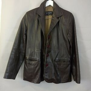 Woodland Ladies Leather Jacket UK 14 Brown Fitted Smart Casual