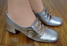 Vtg 1960's RARE ReTrO Go Go SpAcE AgE ULtRa MoD SILVER HiPPiE Mary Janes Shoes 7