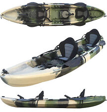 3.7M 2.5 Persons Family Double Twin Fishing Kayak Canoe 6 Rod Holders Camo Flush