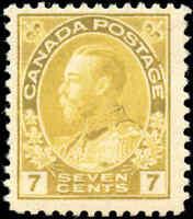 Mint H Canada 7c 1916 F+ Scott #113 King George V Admiral Issue Stamp