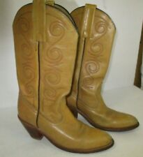 Frye Women's Boots Size 7AA Tan Leather Western/Cowboy Boots-Distressed
