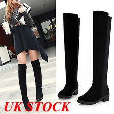 UK Winter Womens Ladies Over The Knee Thigh High Flat Low Heels Black Boots Size