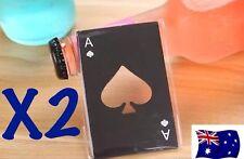 X2 Ace Of Spades BLACK Credit Card Bottle Opener Beer Bottle Poker Deck Cards