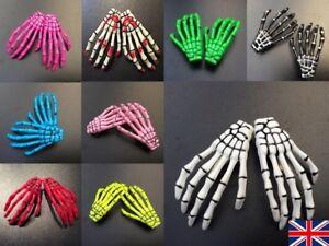 Pair Skeleton Hair Clip - 2 x Bone Hand Slides Zombie Hair Grips Halloween Hair