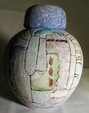 Miniature Southwest Sandstone Hand Painted VASE & LID Urn Vessel UNIQUE