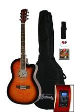 Santander 4/4 Akustik Western Gitarre Set Cutaway Stimmgerät Tonabnehmer Sunb.