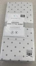 New Pottery Barn Kids Baby Crib Fitted Sheet 100% Organic Design Pin Dot Gray