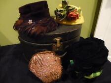 4-Vintage Women Hat Box Black Train Case Luggage Lot Beaded Cap Feather 1930's