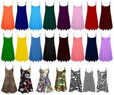 Womens plain Cami Ladies Summer Swing Mini Dress Long Top Plus Size vest 8-26