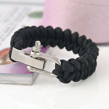 ParaCord Rope Survival Bracelet Outdoor Camping Hiking Steel Shackle Buckle 1PC