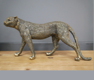 Gold Leopard Ornament Resin Sculpture Figurine Statue Home Decor Cat Art 41cm