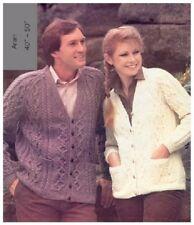 "His and her Aran Cardigan Vintage Knitting Pattern Large Sizes 40"" to 50"""
