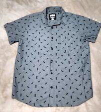 Men's Batman Button Up Shirt Size Large Bat Logo Print All Over Short Sleeve