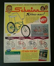 1964 Schwinn Sting~Ray~Twinn Boys Bicycle Memorabilia Bikes Promo Trade AD