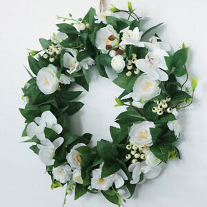 Silk Front Door Wreath 20 Inches Orchid Floral Garland Large Wreath Home Wall