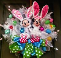 "Handmade 26"" Mickey Mouse Minnie Mouse Easter Wreath XL Easter Door Decor"